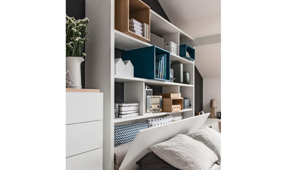 Bed with shelving unit & canopy with lifted frame 160x200 4You by VOX white GE